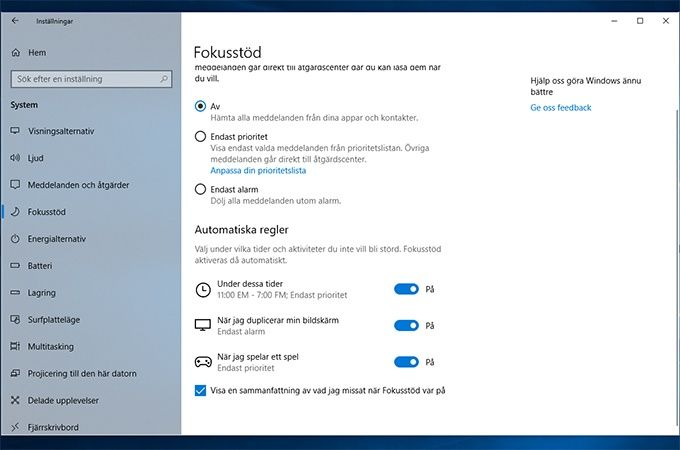 Fokusstöd i Windows 10