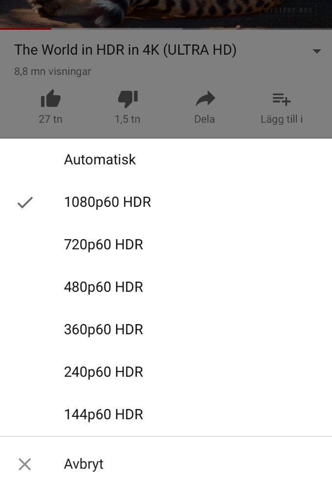 Youtube på IOS i hdr