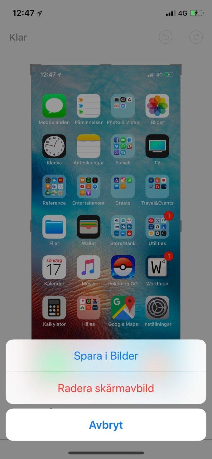 Skärmdumpar på Iphone X