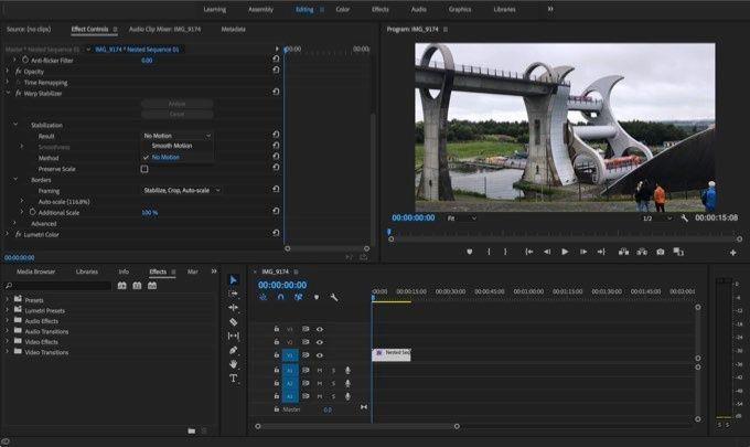 Stabilisera timelapse med Premiere Pro