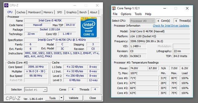 CPU-Z och Core Temp