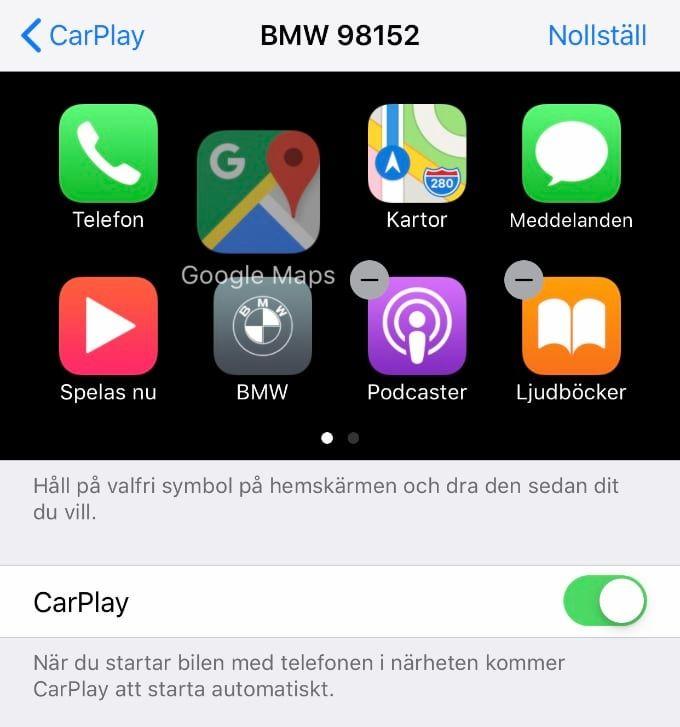 Google Maps eller Waze med Carplay i IOS 12