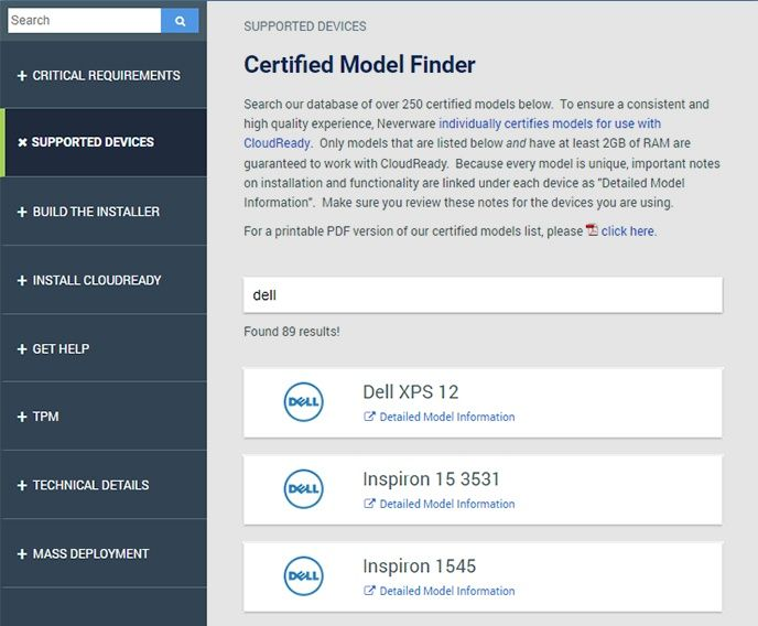 Cloudreadys Certified Model Finder