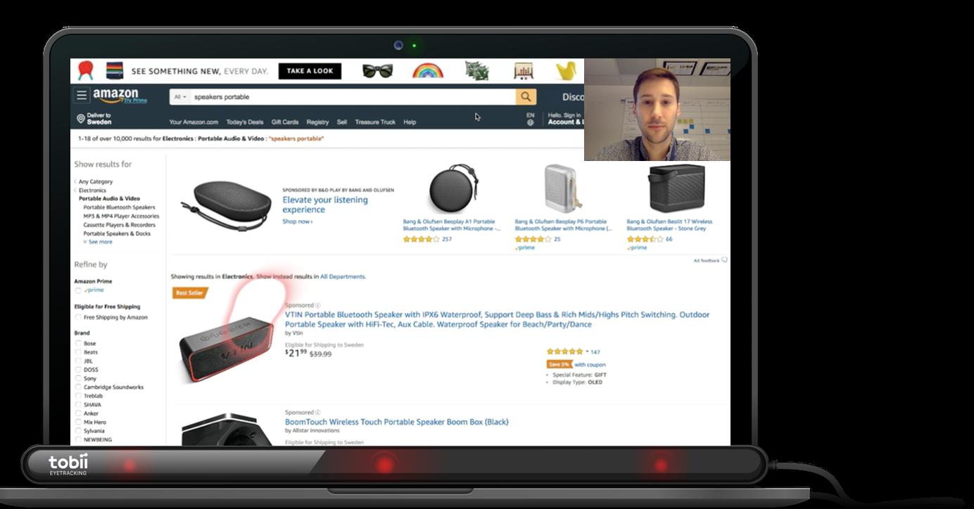 """""""Blobben"""" visar hur användaren rör blicken över skärmen."""