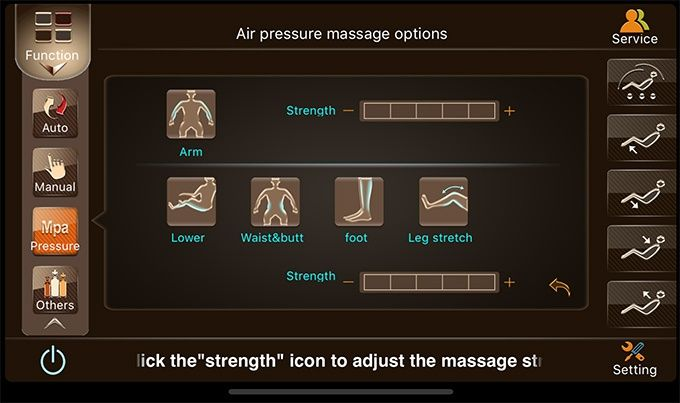 Test massagestol app