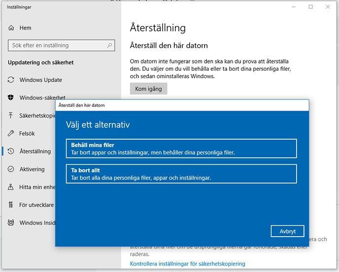 Återställning Windows