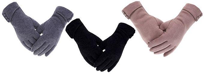 Fodrade touch-vintervantar i 3 färger