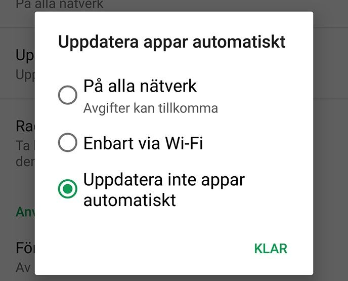 Automatiska uppdateringar Google Play