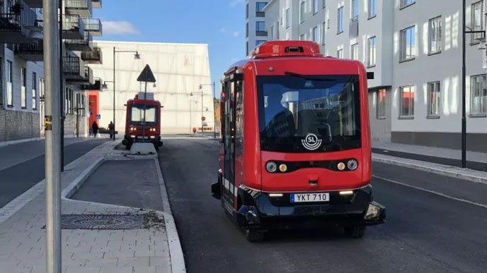Förarlös buss i Barkarby
