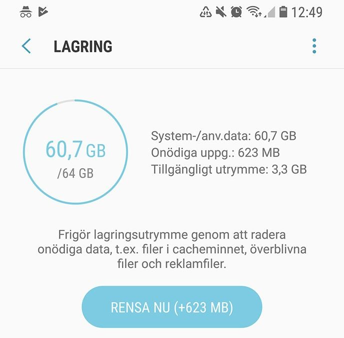 Rensa cache android