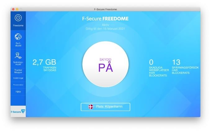 Test Freedome VPN för Mac