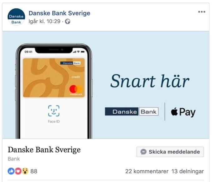 Danske Bank får stöd för Apple Pay