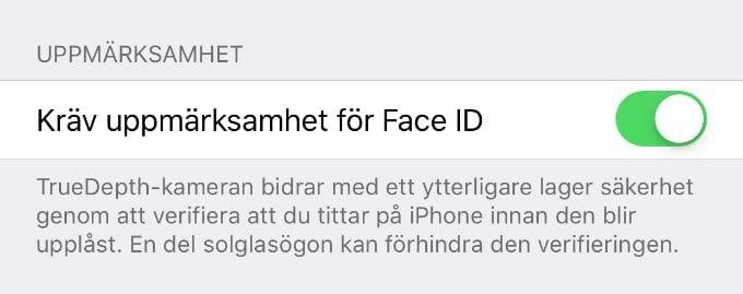 Face ID med solglasögon