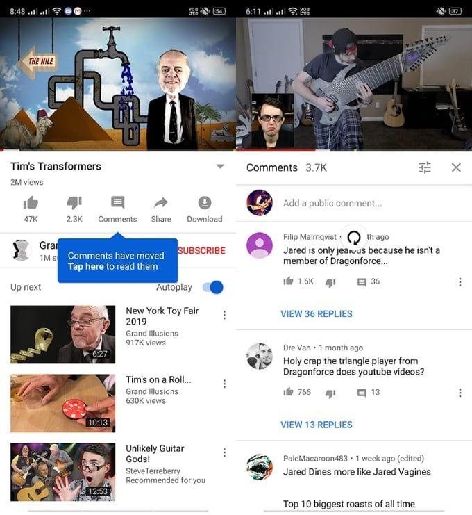 Kommentarer i Youtube-appen