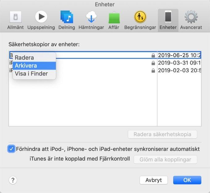 Arkivera backup av IOS eller Ipad OS