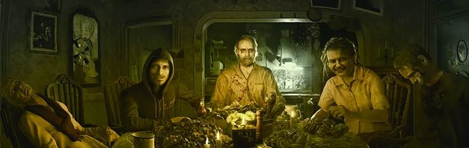 Resident Evil 7 the bad guys eating at table