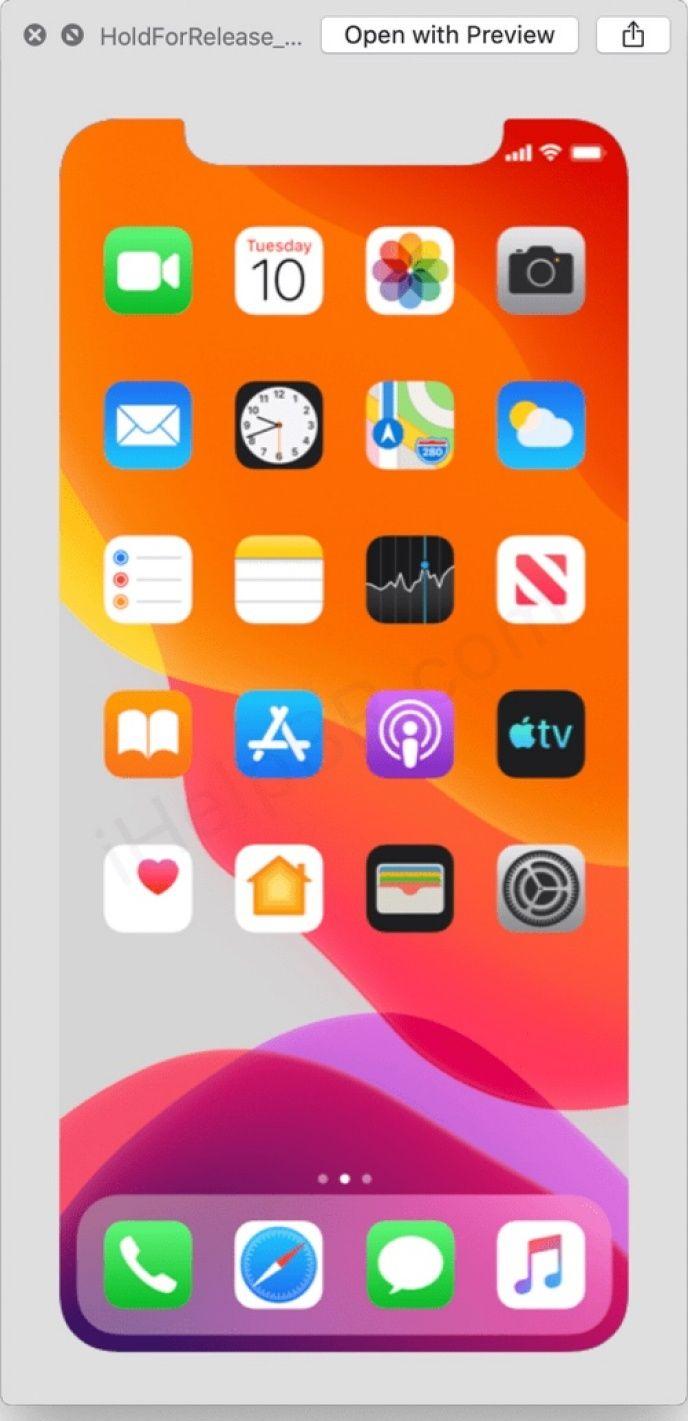 Skärmdump från IOS 13