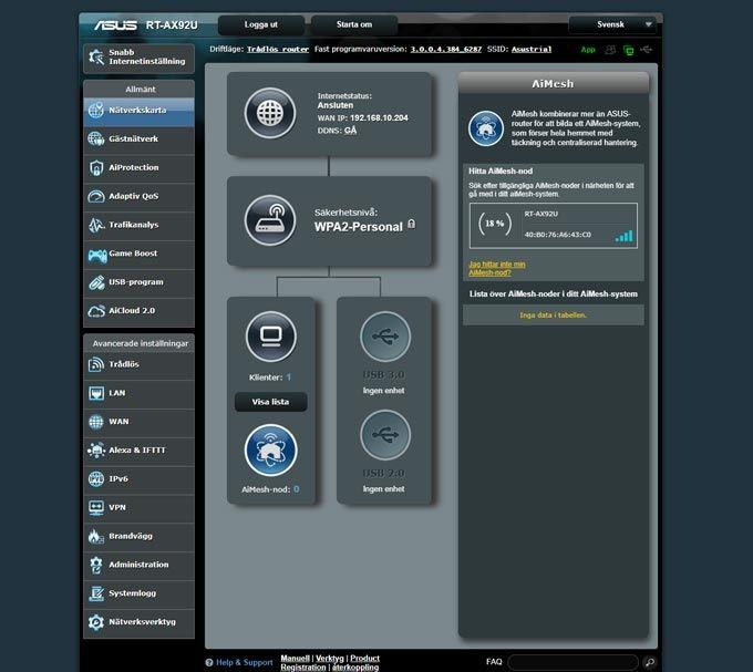 Asus RT-AX92U webbgränssnitt