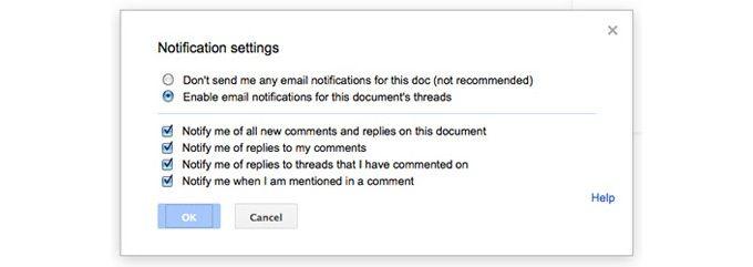 Google Docs notifikationer