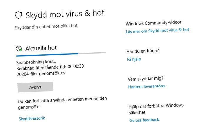 Windows Defender Säkerhet