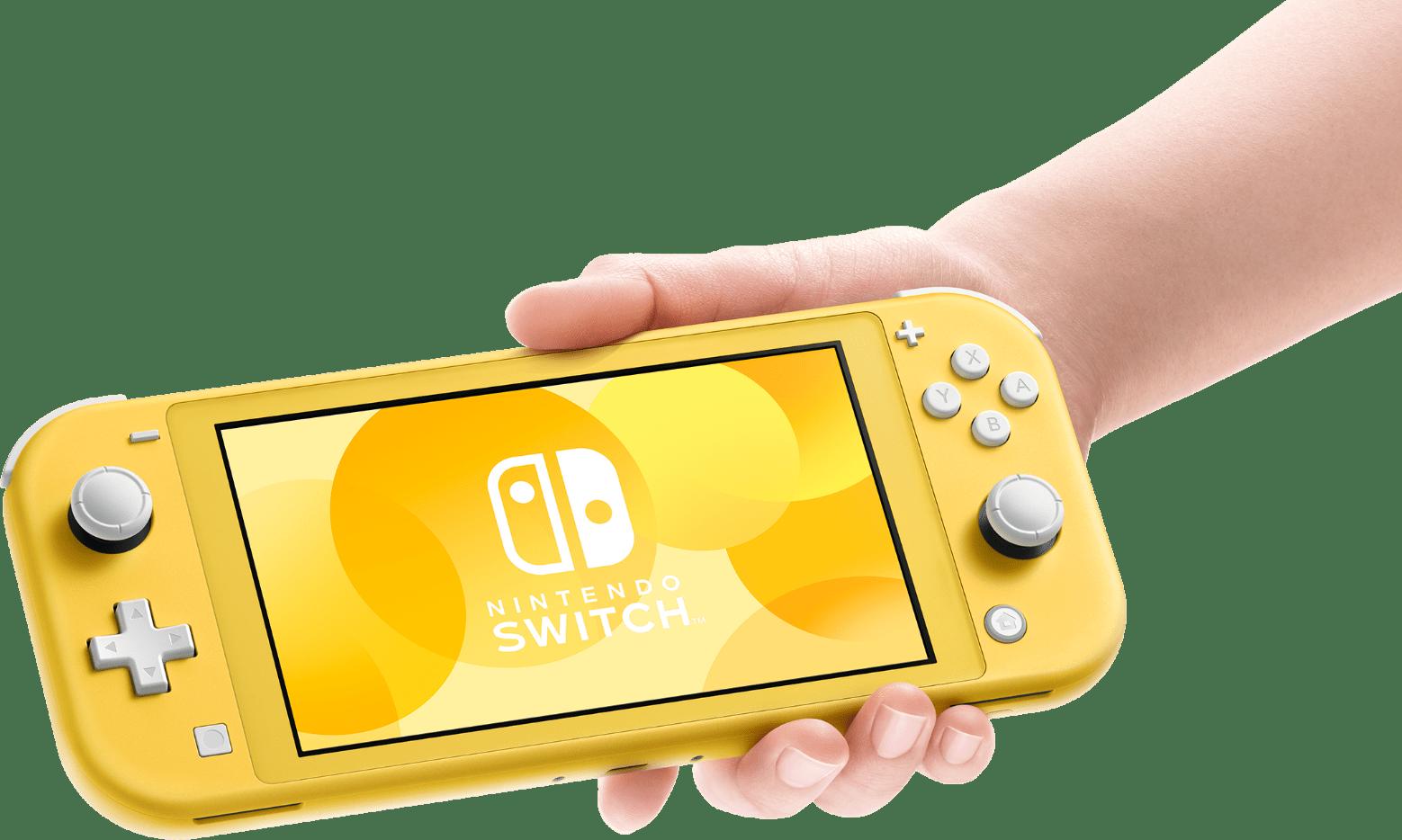 En hand hållandes Switch Lite