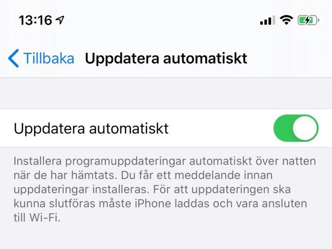 Autouppdatera IOS