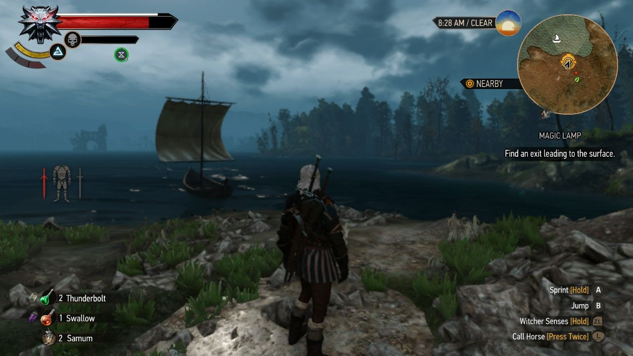 Geralt stares to the ocean
