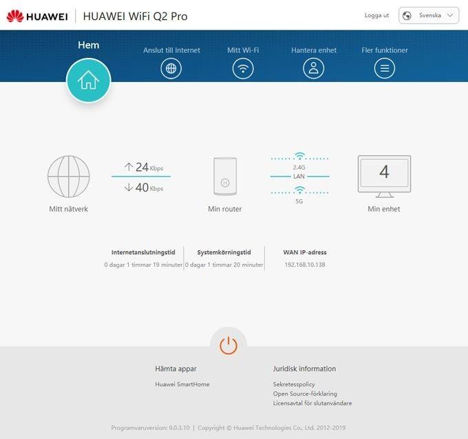 Huawei Wifi Q2 Pro webbgränssnitt