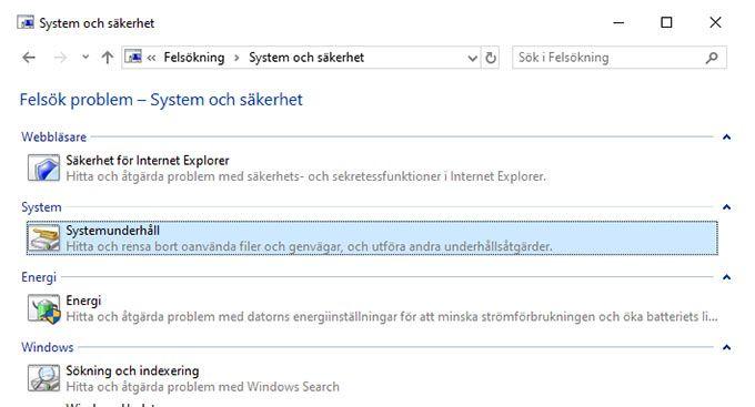 System och säkerhet Windows