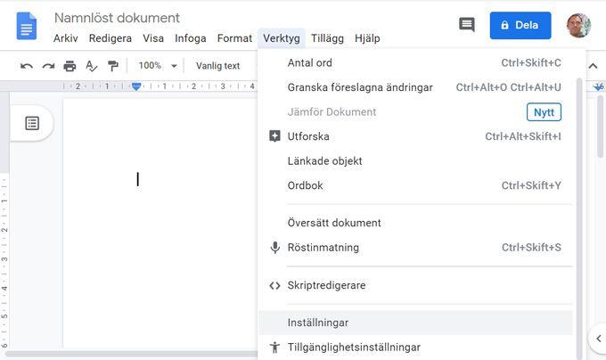 Diktering i Google Dokument