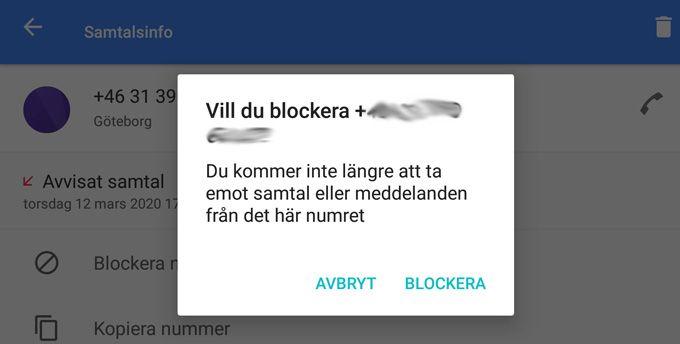 Blockera samtal