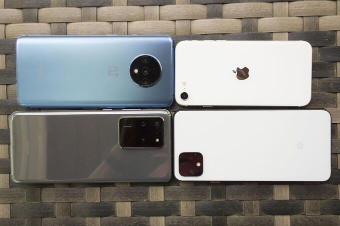 Iphone SE och tre Android-toppmodeller