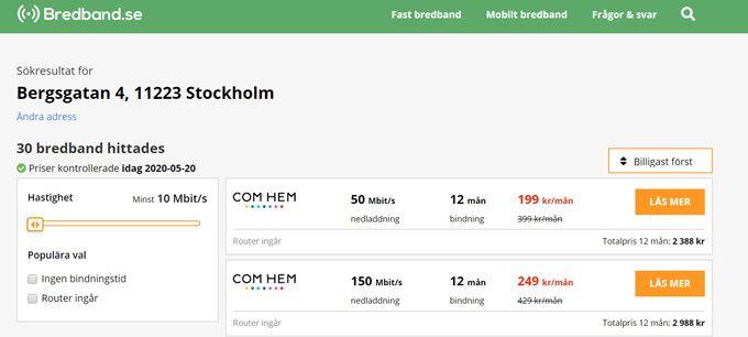 bredband via fiber pricerunner