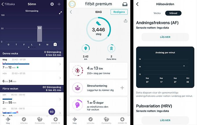 Fitbit app skärmdumpar