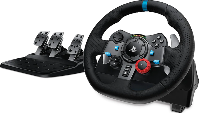 Racing steering wheel for car games by Logitech