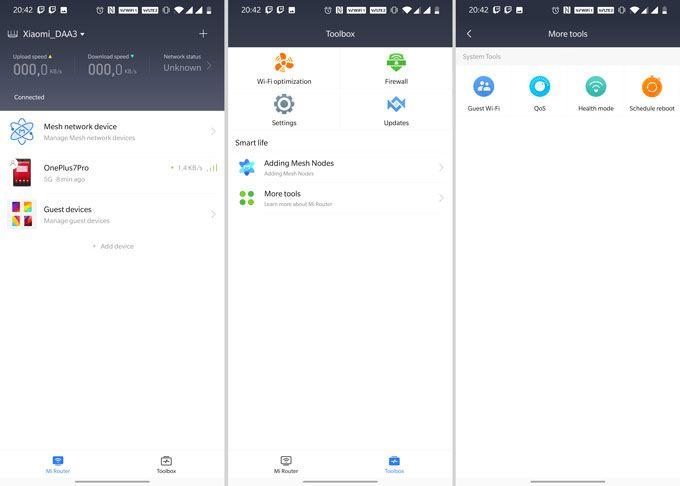 Xiaomi Mi Router AX1800 gränssnitt