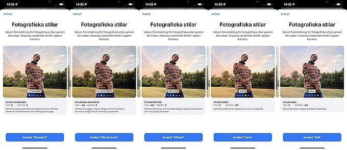Iphone 13 fotografiska stilar