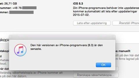 Iphone vägrar uppdatera till IOS 8.4