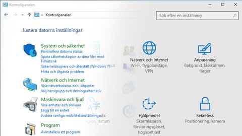 Windows 10 inställningar kontrollpanelen