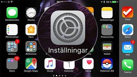Inställningar i IOS 10