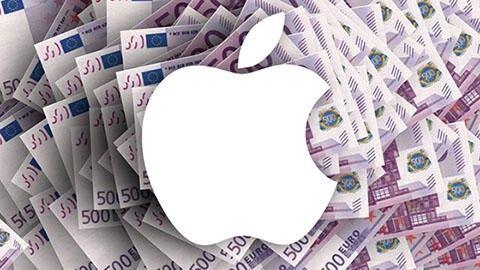 Apple-logga på en bädd av eurosedlar