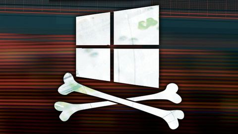 Windows-logo med korslagda benknotor
