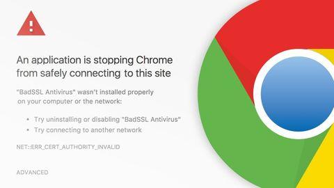 Google Chromes varning och logotyp