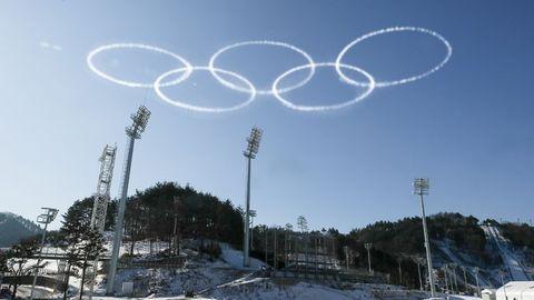 Olympska ringarna över Pyeongchang