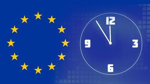 EU-flagga, klocka
