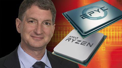 Montage: AMD:s cto Mark Papermaster och processorer
