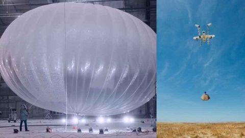 Googles ballong Loon och drönare Wing.
