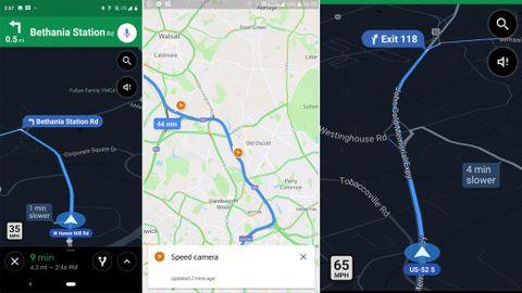 Googles kartor med hastighetsbegränsningar och fartkameror