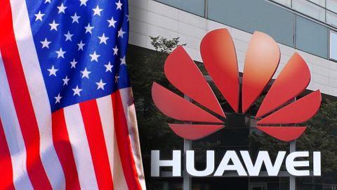 Montage: USA:s flagga, Huawei-skylt
