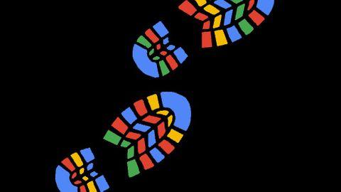 Skoavtryck i Google-färgerna